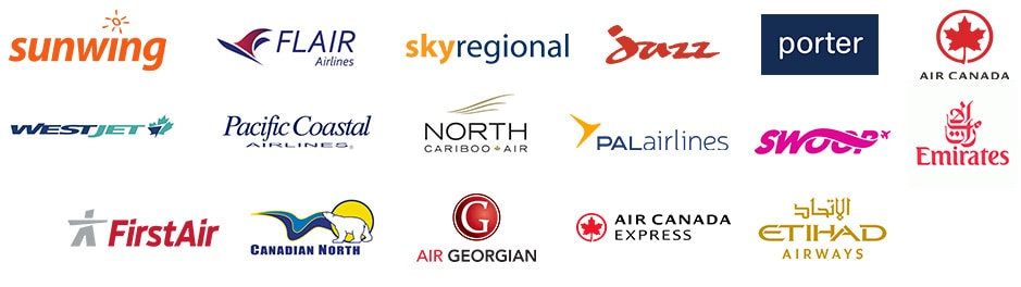 collage of various airline logos