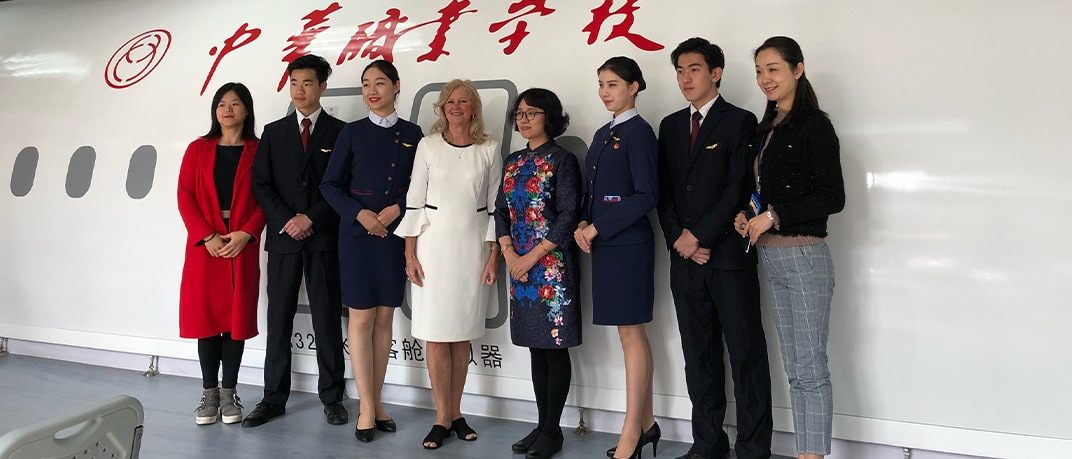Photo of AFAA Director at Chinese sister school